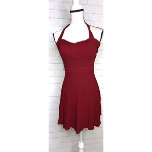 REFORMATION | Burgundy Red Cut Out Halter Dress S